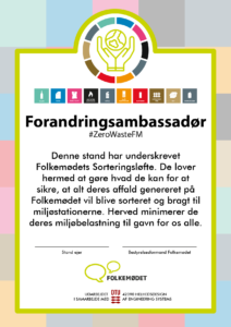 Sustainability Pledge. The pledge is formally formulated in Danish for FM to be utilised at the festival.